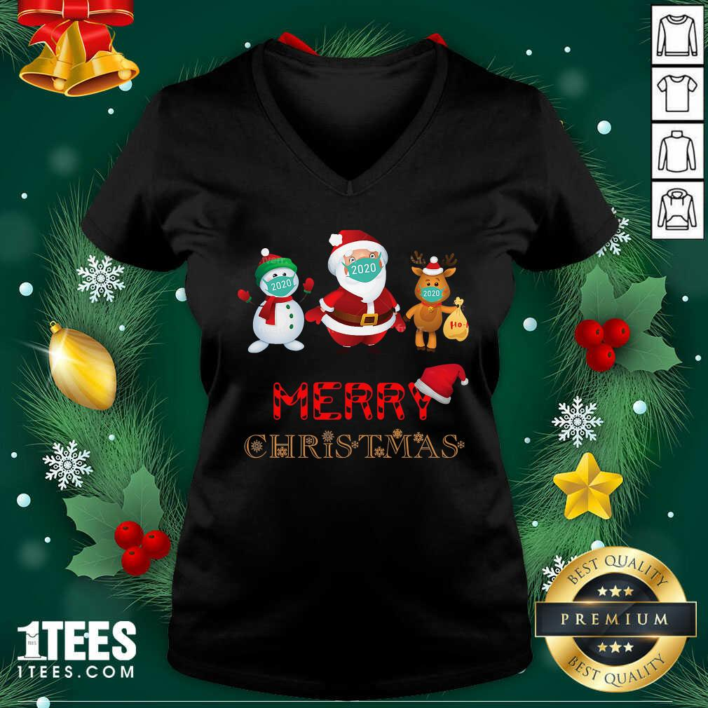 Merry Christmas 2020 Quarantine Santa Reindeer Wear Mask Holiday V-neck- Design By 1Tees.com