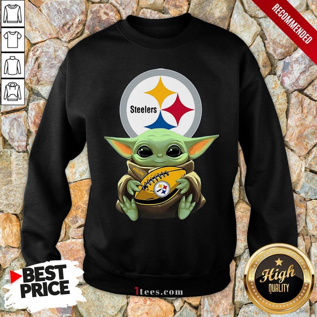 Nice Baby Yoda Hug Rugby Steelers Sweatshirt Design By T-shirtbear.com