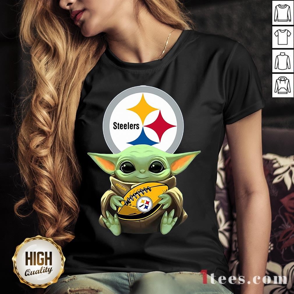 Nice Baby Yoda Hug Rugby Steelers  V-neck Design By T-shirtbear.com