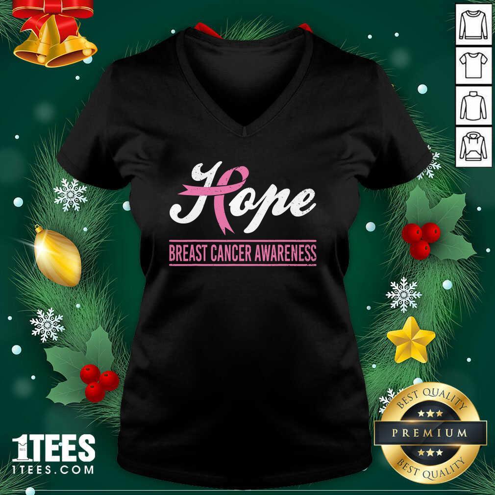 Hope Breast Cancer Awareness Survivor Pink Ribbon Support V-neck - Design By 1tees.com