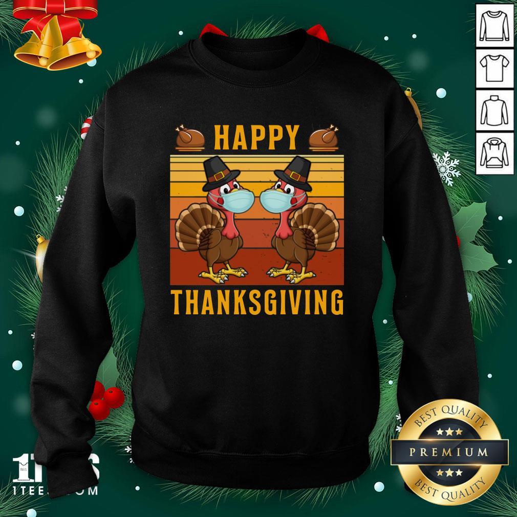 Perfect Thanksgiving 2020 Turkey With Mask Retro Vintage Sweatshirt - Design By 1tee.com
