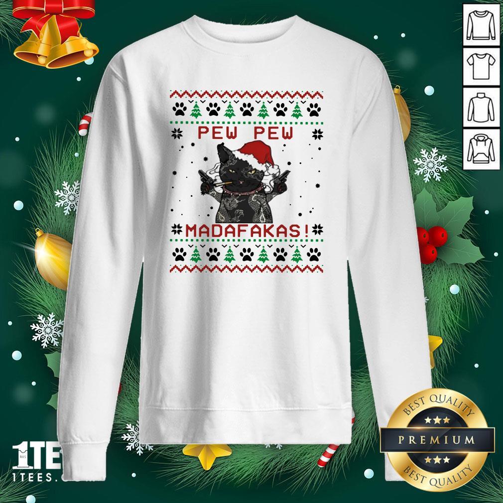 Premium Black Cat Tattoo Santa Pew Pew Madafakas Ugly Sweatshirt - Design By 1tee.com