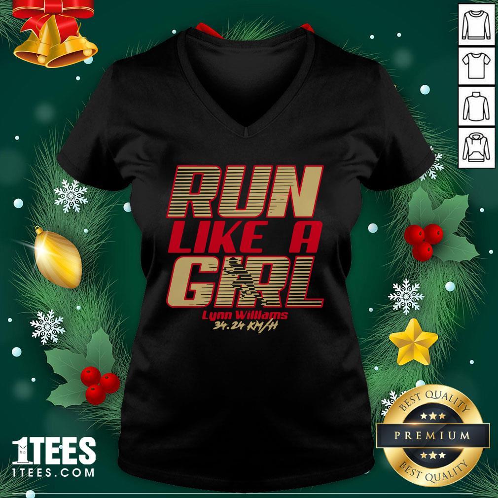 Premium Run Like A Girl Lynn Williams V-neck - Design By 1tee.com