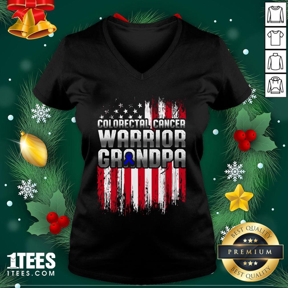 Pro Colorectal Cancer Warrior Grandpa American Flag V-neck - Design By 1tee.com