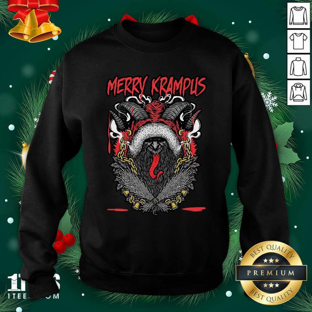 Merry Krampus Christmas Psychobilly Sweatshirt- Design By 1Tees.com