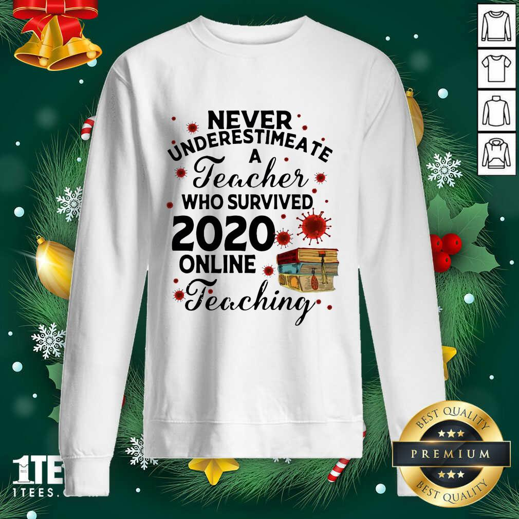 Never Underestimate A Teacher Who Survived 2020 Online Teaching Sweatshirt- Design By 1Tees.com