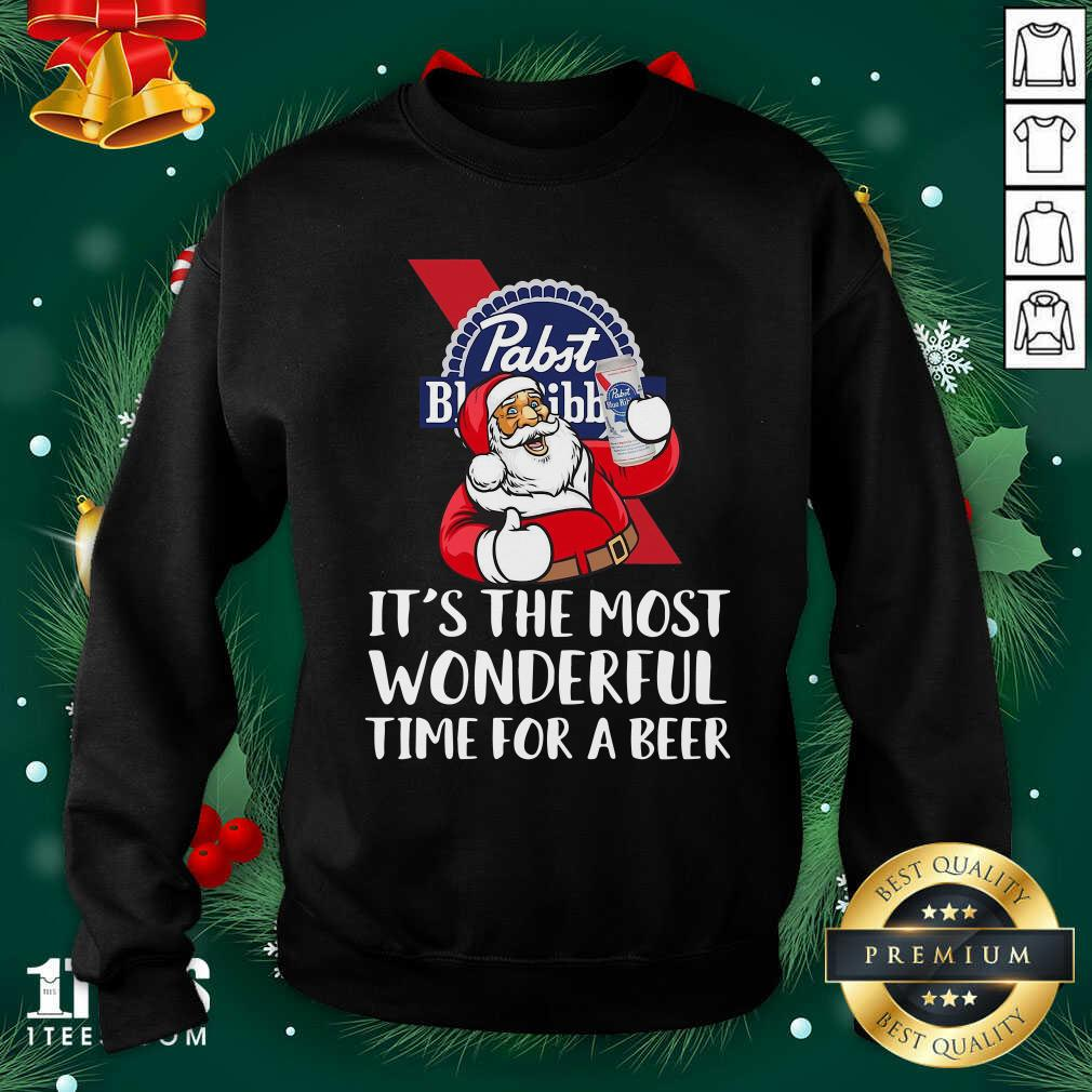Pabst Blue Ribbon It's The Most Wonderful Time For A Beer Sweatshirt- Design By 1tees.com