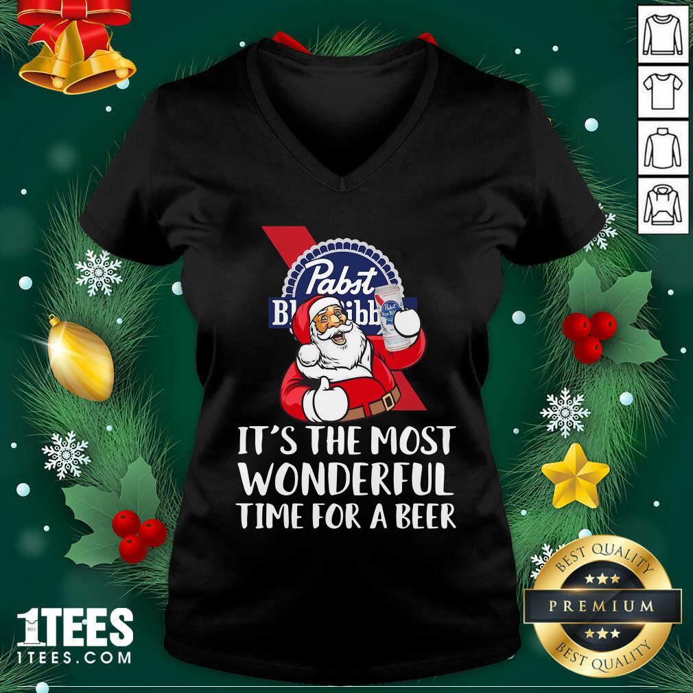 Pabst Blue Ribbon It's The Most Wonderful Time For A Beer V-neck- Design By 1tees.com