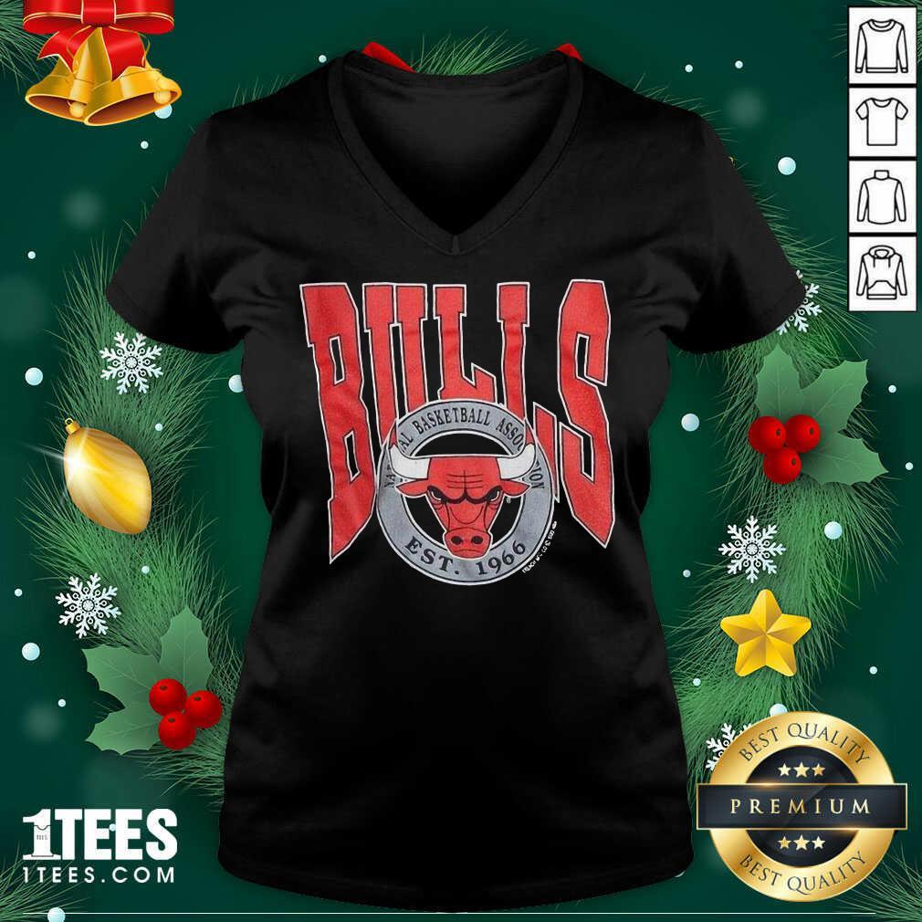 1990 Chicago Bulls Vintage Trench Basketball Est 1966 V-neck- Design By 1tees.com
