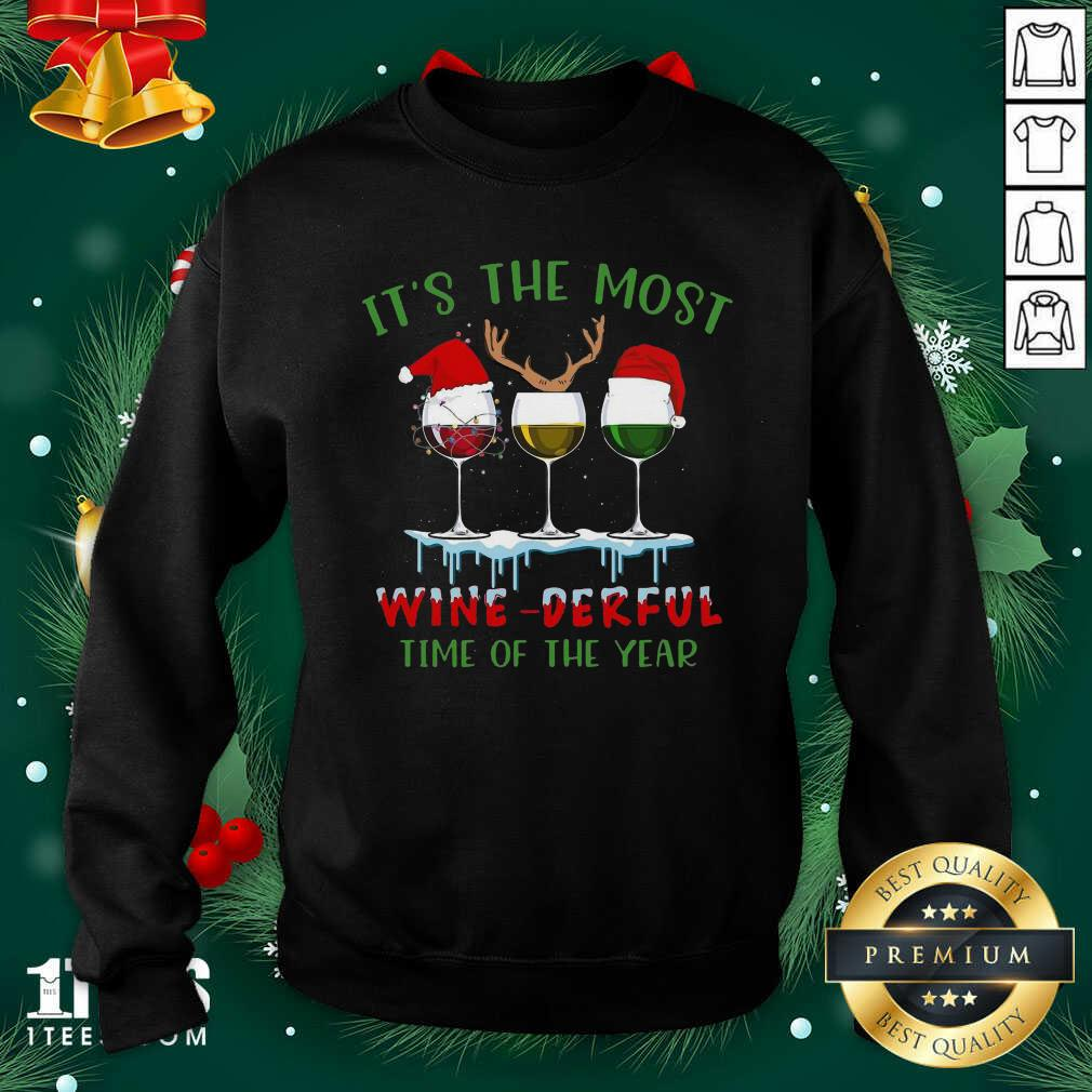 Its The Most Wine Derful Time Of The Year Merry Christmas Light Sweatshirt- Design By 1Tees.com