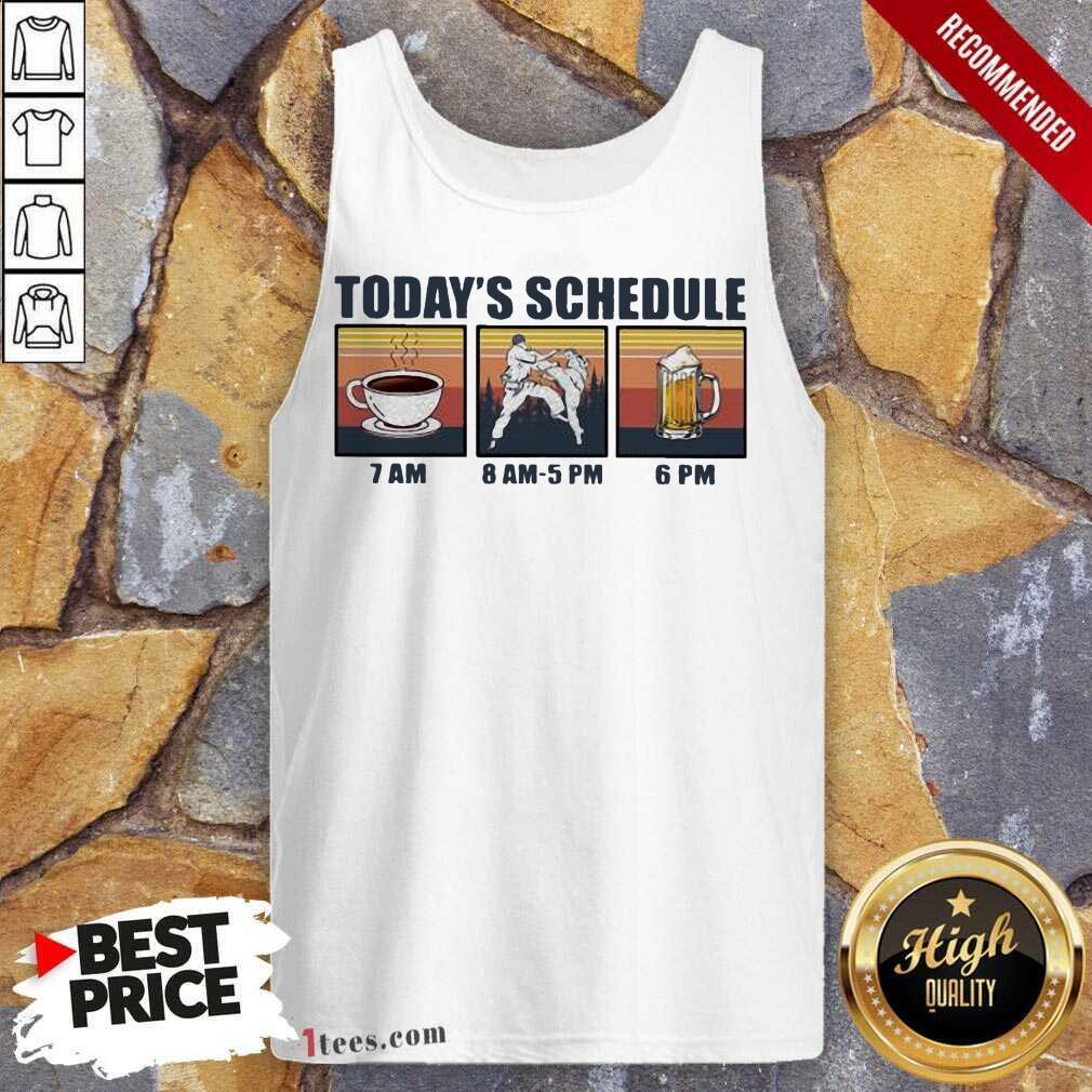 Today Schedule Karate Coffee Beer Vintage Tank Top- Design By 1Tees.com