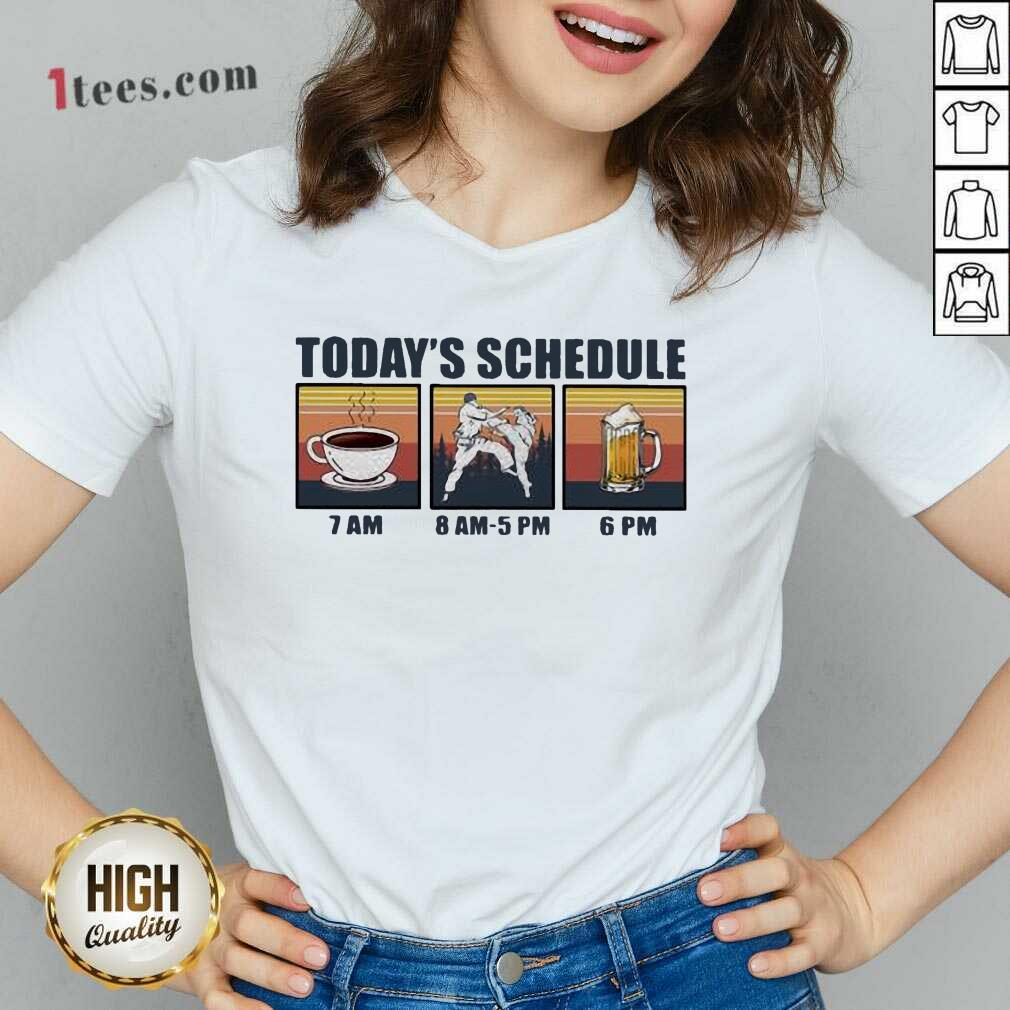 Today Schedule Karate Coffee Beer Vintage V-neck- Design By 1Tees.com