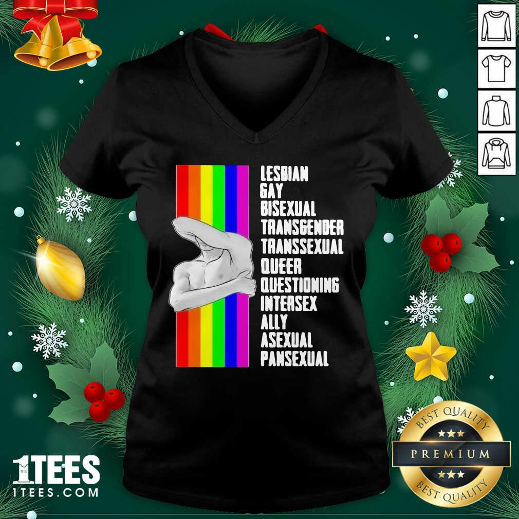Lesbian Gay Bisexual Transgender Transsexual Queer Questioning Intersex Ally Asexual Pansexual LGBT V-neck- Design By 1tees.com