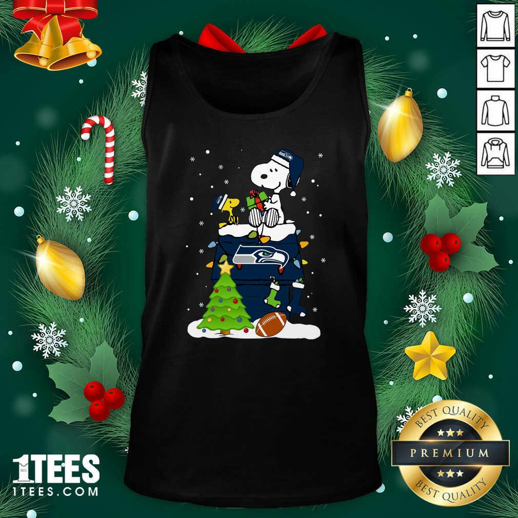 Snoopy Merry Christmas Nfl Seahawks Unisex Tank Top- Design By 1Tees.com