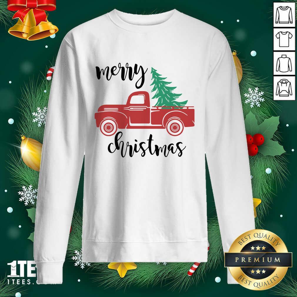 Merry Christmas Truck Christmas Sweatshirt- Design By 1tees.com
