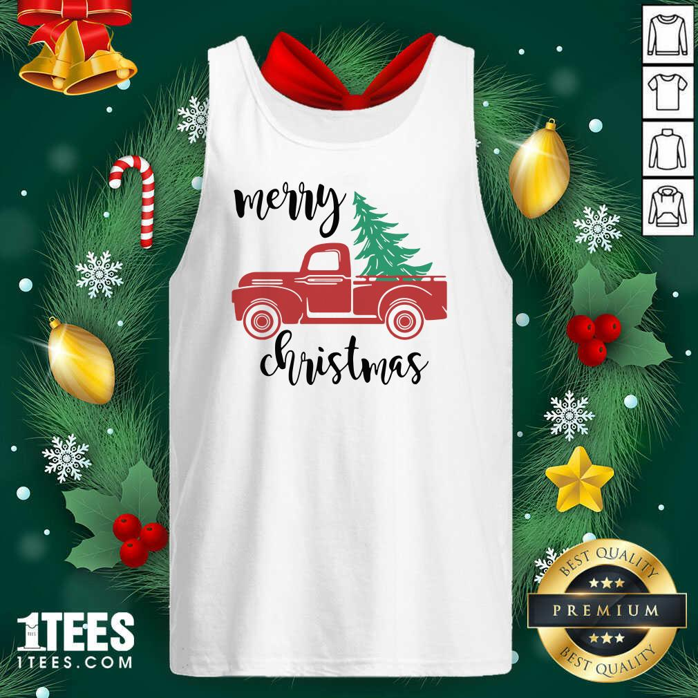 Merry Christmas Truck Christmas Tank Top- Design By 1tees.com