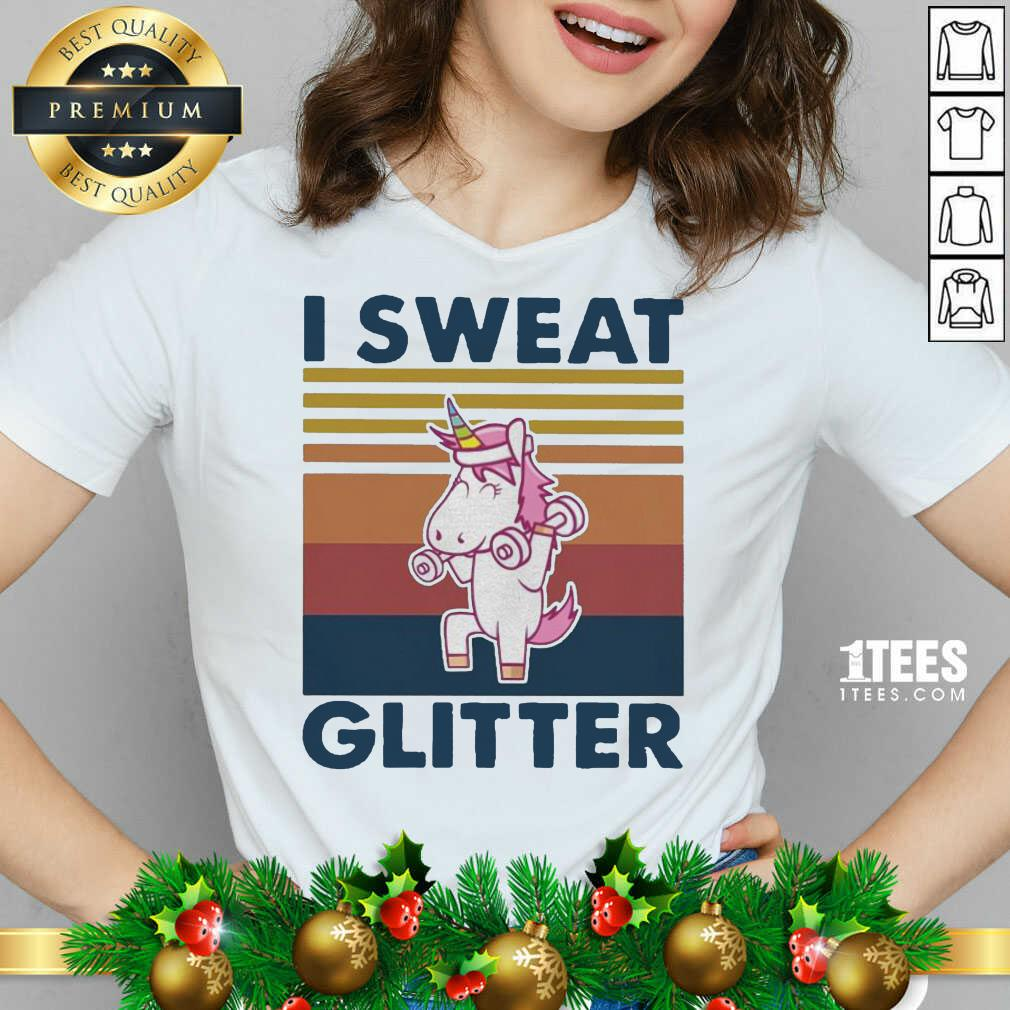 Unicorn I Sweat Glitter Vintage V-neck- Design By 1tees.com