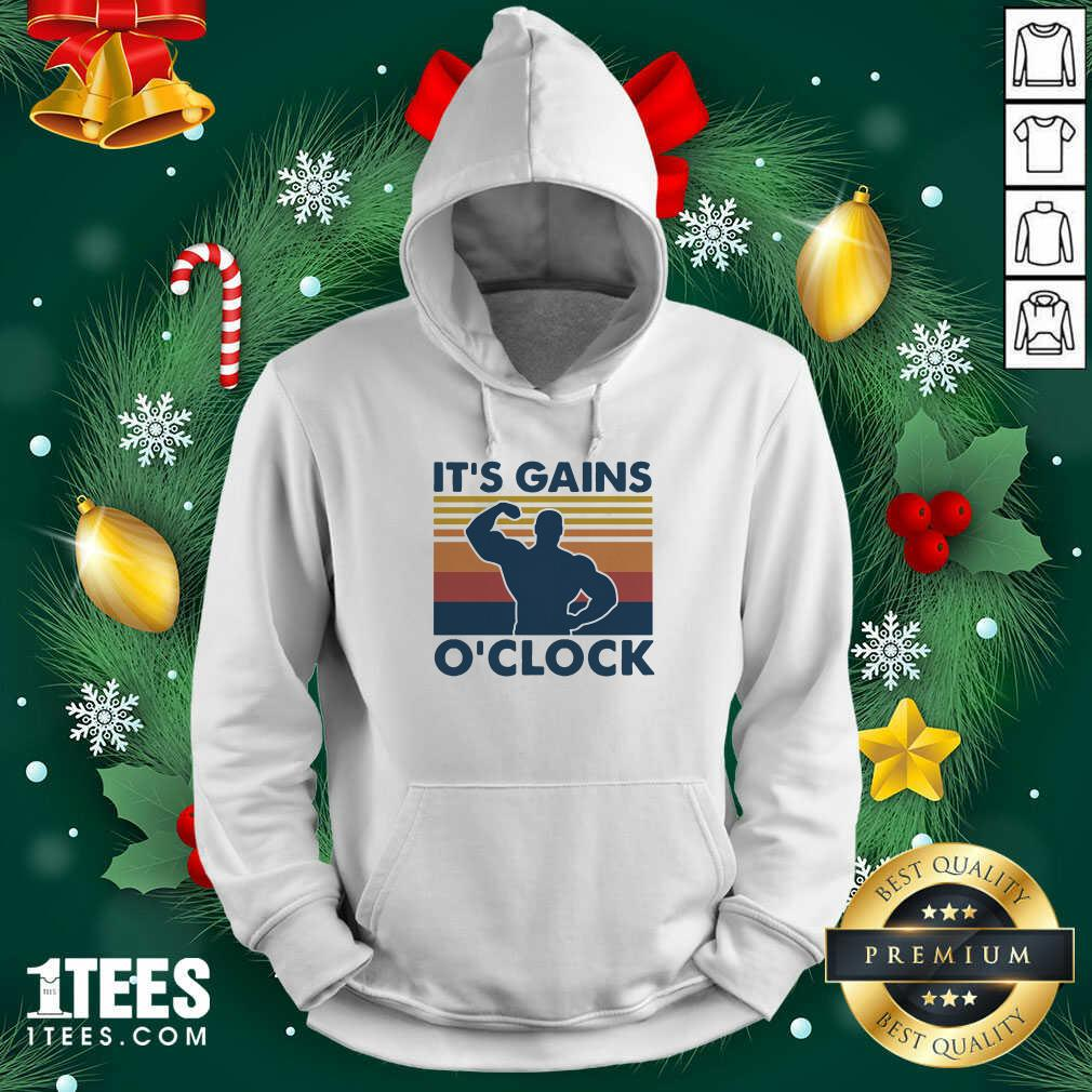 Lifting Its Gains O'clock Vintage Hoodie- Design By 1tees.com