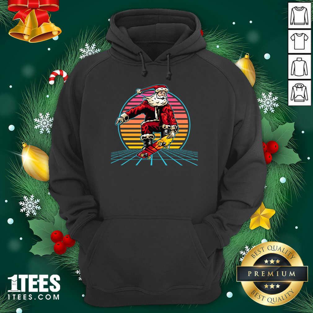 Retro Sunset 80s Christmas Skateboarding Santa Funny Christmas Hoodie- Design By 1tees.com