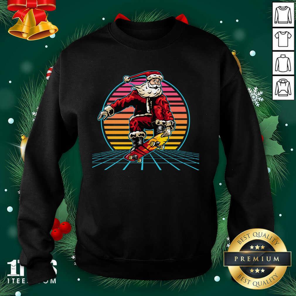 Retro Sunset 80s Christmas Skateboarding Santa Funny Christmas Sweatshirt- Design By 1tees.com