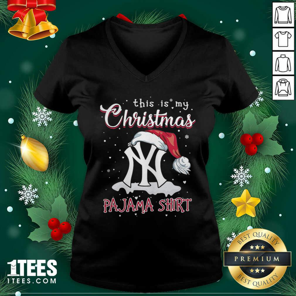 This is My Christmas Pajama New York Yankees V-neck- Design By 1Tees.com