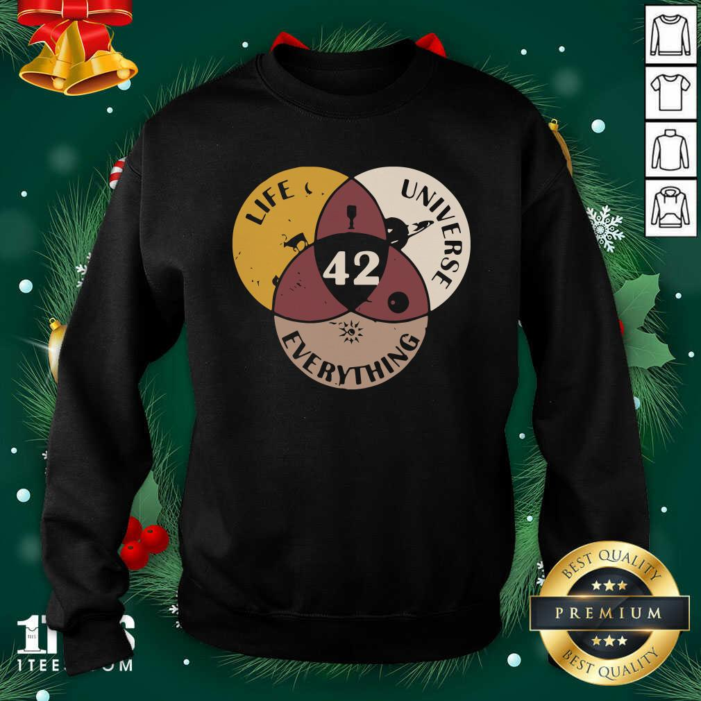 42 The Answer To Life Universe And Everything Sweatshirt- Design By 1Tees.com
