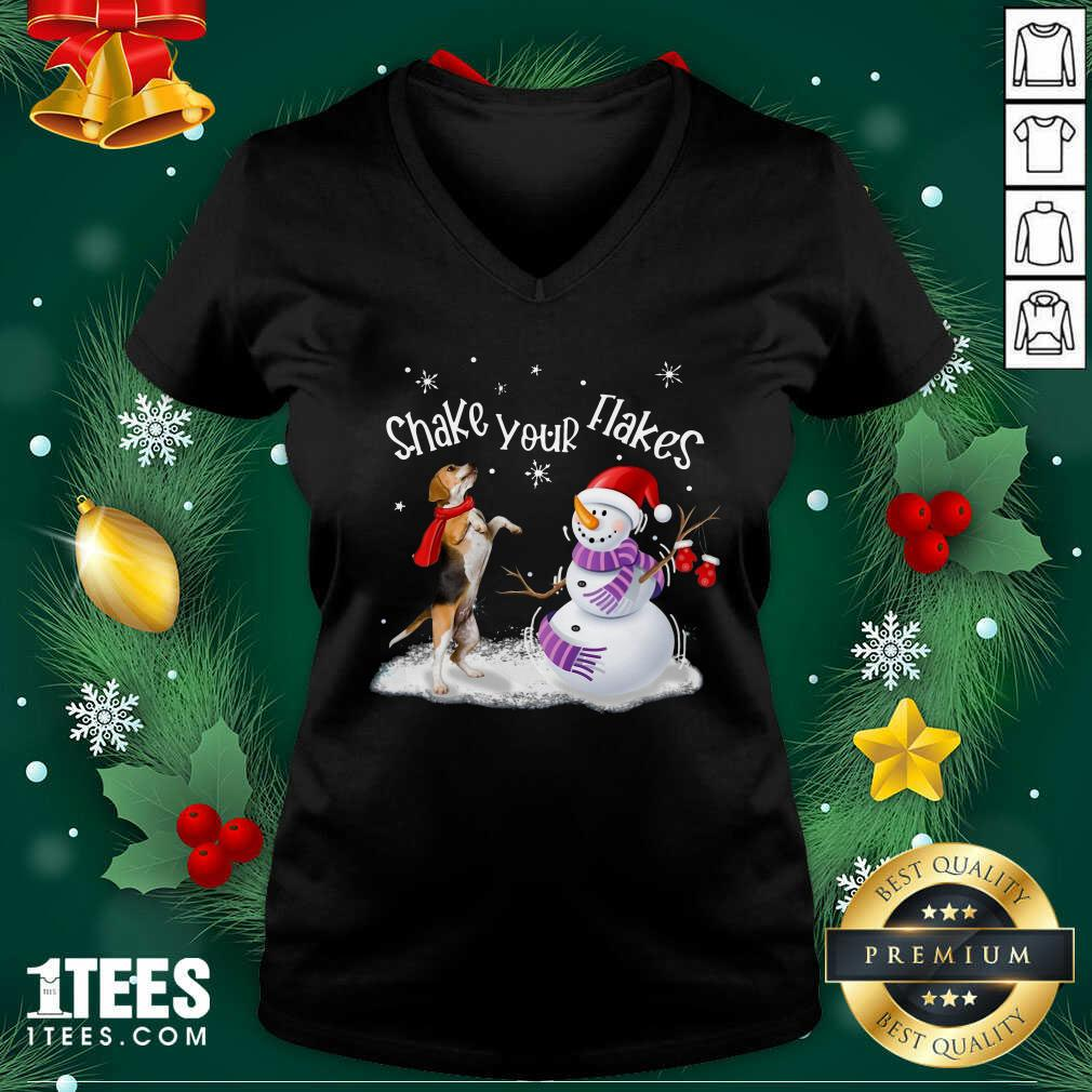 Beagle And Snowman Shake Your Flakes Merry Christmas V-neck- Design By 1Tees.com