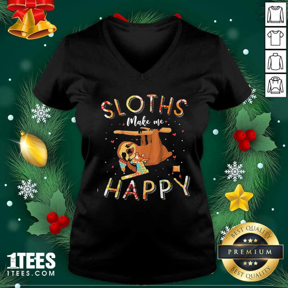 Sloths Make Me Happy Sewing V-neck- Design By 1Tees.com