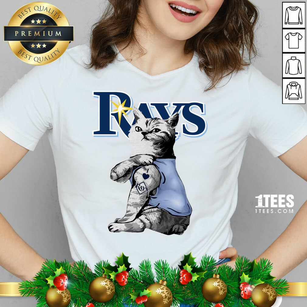 Tattoo Cat I Love Tampa Bay Rays V-neck- Design By 1tees.com