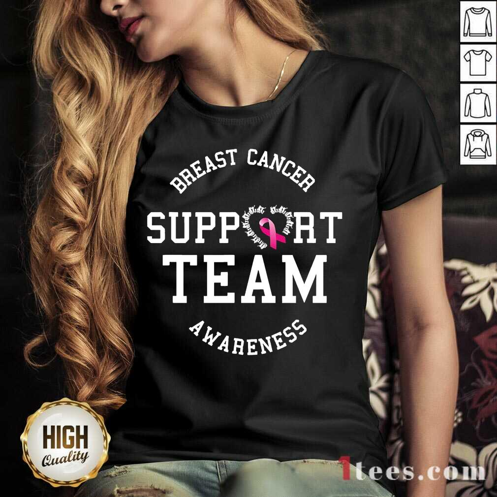 Breast Cancer Support Team Awareness Ribbon Pink V-neck- Design By 1Tees.com