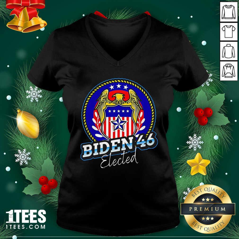 Biden 46 Elected 46Th President V-neck- Design By 1tees.com