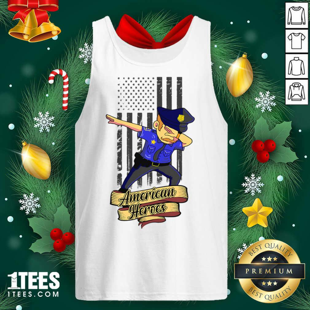 Dabbing Police Man Ameican Heroes Us Flag Tank Top- Design By 1tees.com