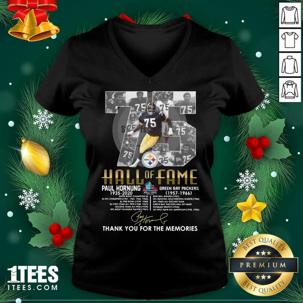 75 Paul Hornung 1935 2020 Hall Of Fame Thank You For The Memories Signature V-neck- Design By 1tees.com