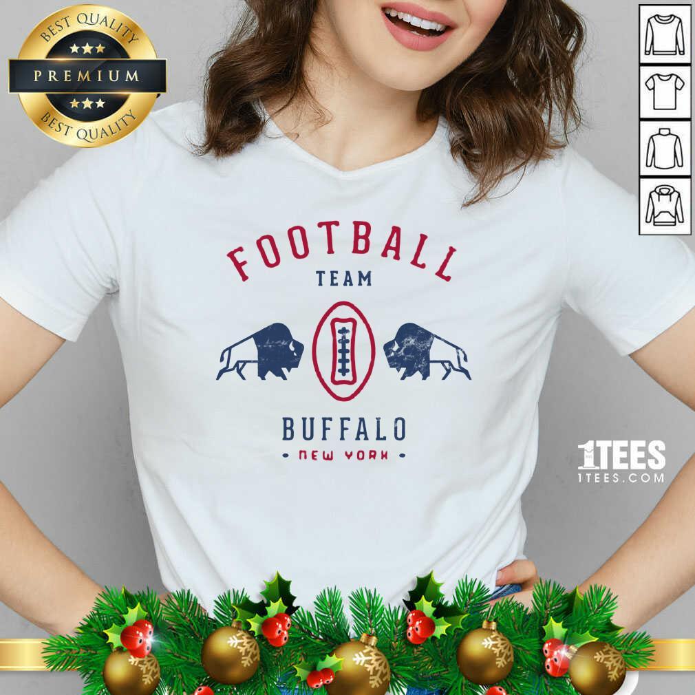 Cool modern Buffalo Bills Retro Team Crest V-neck- Design By 1Tees.com