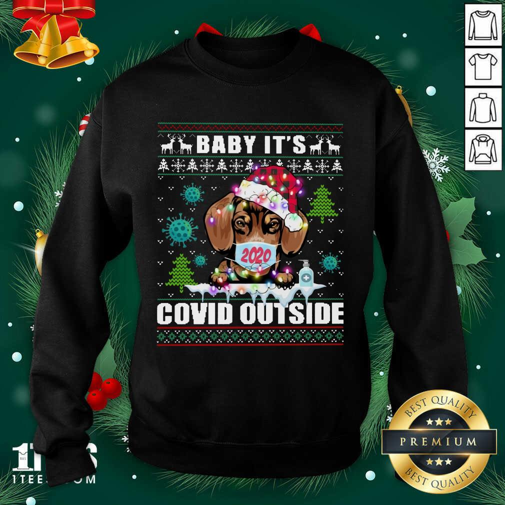 Dog Face Mask 2020 Baby It'S Covid Outside Ugly Christmas Sweatshirt- Design By 1Tees.com