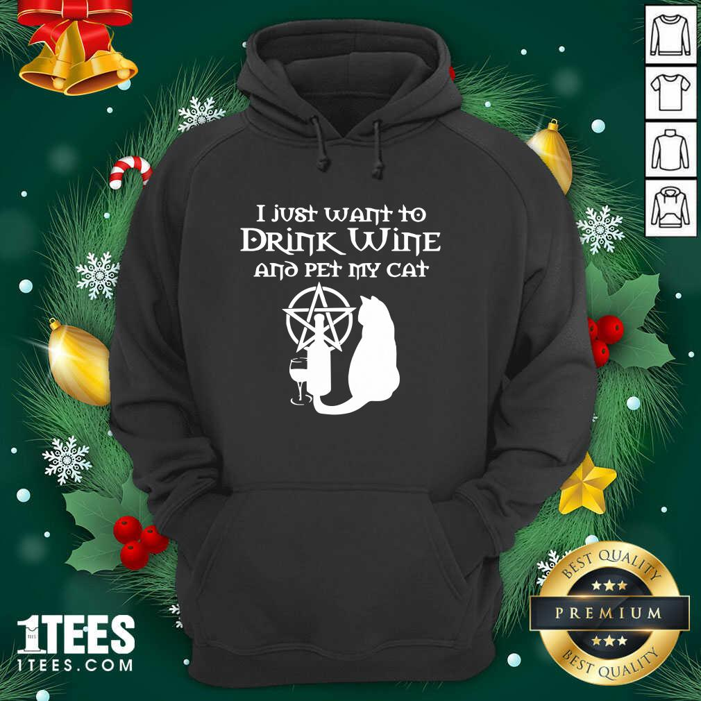 I Just Want To Drink Wine And Pet My Cat Hoodie- Design By 1Tees.com
