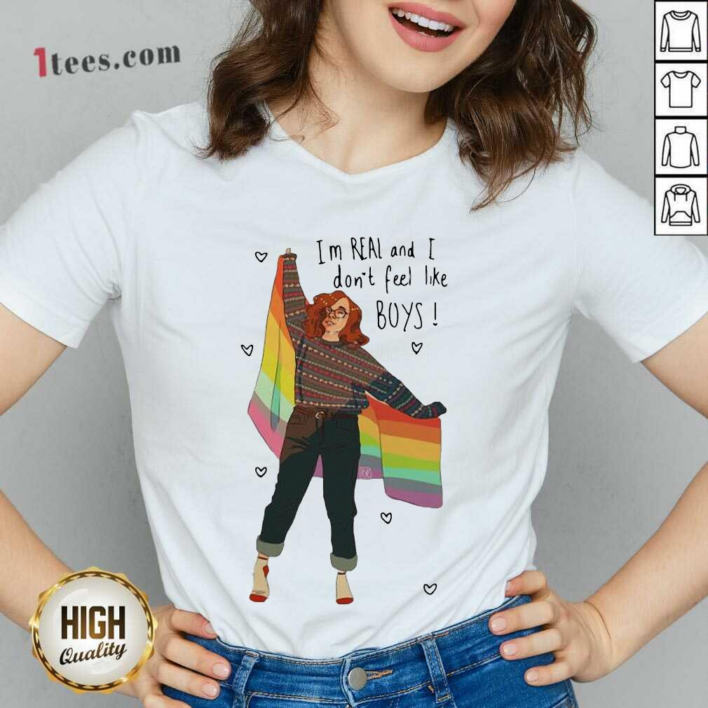 I'm Real And I Don't Feel Like Boys LGBT Flag V-neck- Design By 1Tees.com