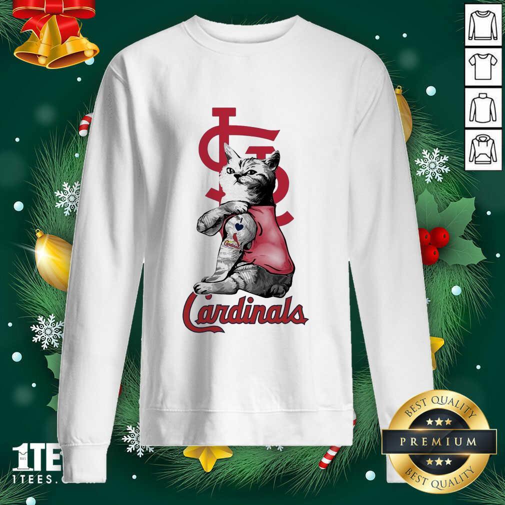 Tattoo Cat I love St Louis Cardinals Sweatshirt- Design By 1tees.com