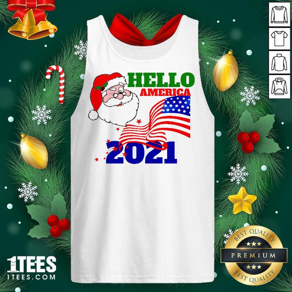 Hello America 2021 Santa Claus Merry Christmas Usa Flag Tank Top- Design By 1tees.com