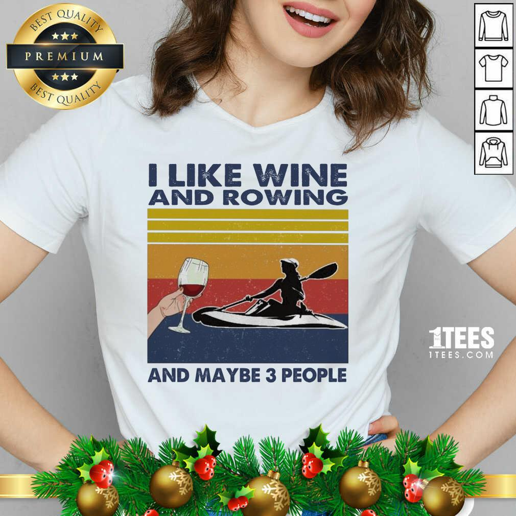 I Like Wine And Rowing And Maybe People Vintage V-neck- Design By 1Tees.com