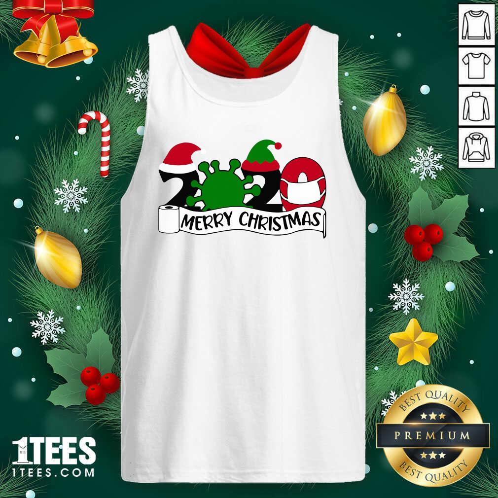 Merry Christmas 2020 Santa Elf Coronavirus Tank Top- Design By 1Tees.com