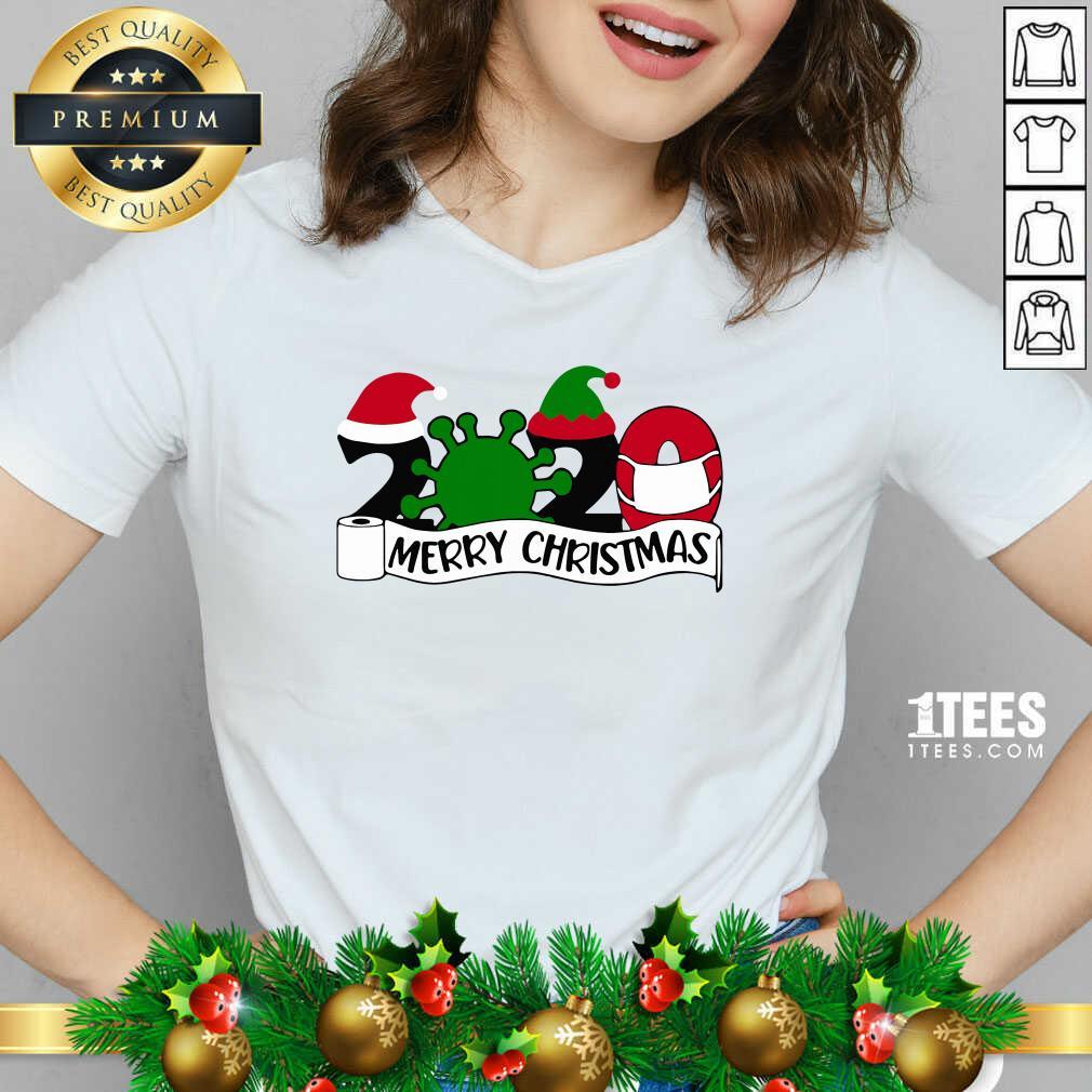 Merry Christmas 2020 V-neck- Design By 1Tees.com
