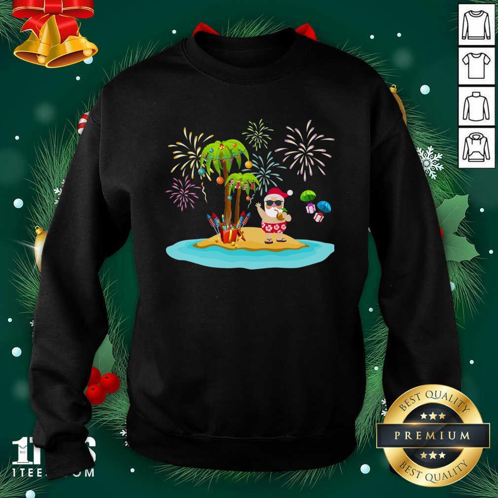 Christmas Palm Tree Xmas Coconut Lights Sweatshirt- Design By 1tees.com