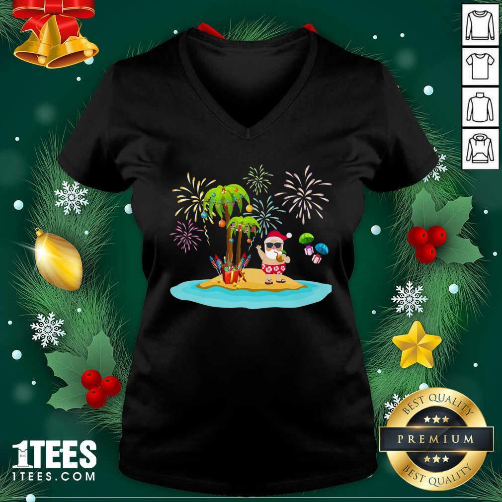 Christmas Palm Tree Xmas Coconut Lights V-neck- Design By 1tees.com