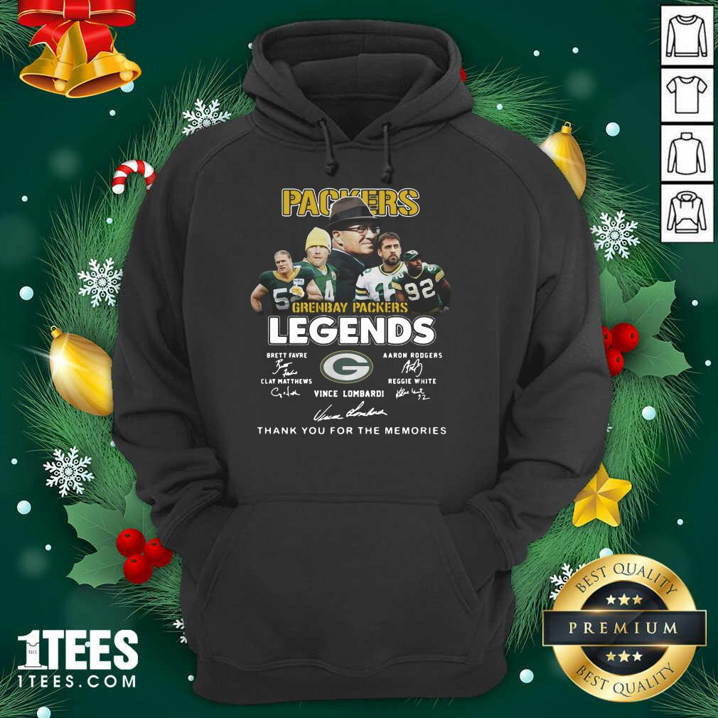 Green Bay Packers Legends Brett Favre Aaron Rodgers Clay Matthews Reggie White Vince Lombardi Signatures Hoodie- Design By 1Tees.com