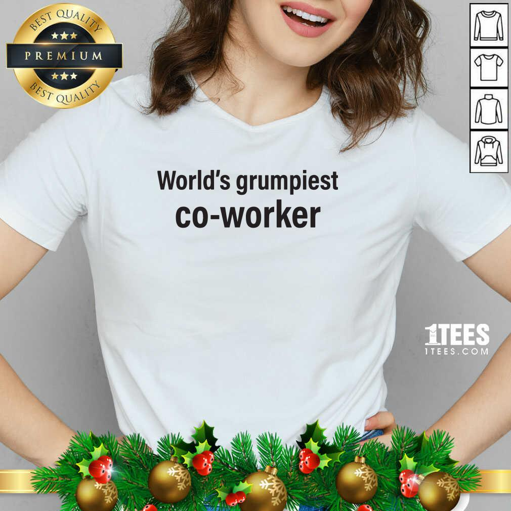 World's Grumpiest Co Worker V-neck- Design By 1Tees.com