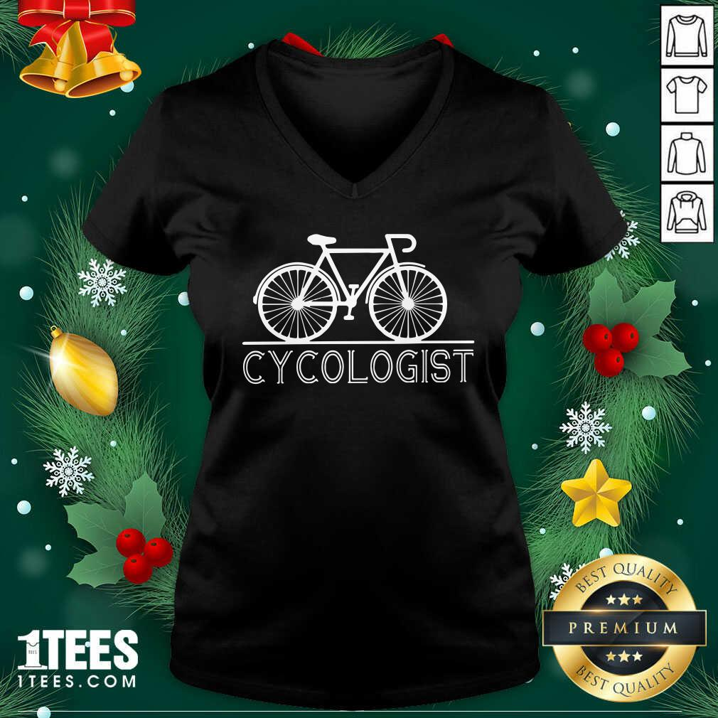 Hot The Bicycle Cycologist V-neck- Design By 1Tees.com