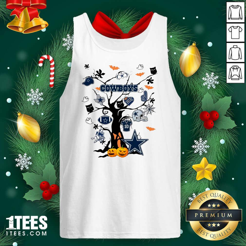 Dallas Cowboys And Ghost On Tree Tank Top- Design By 1Tees.com