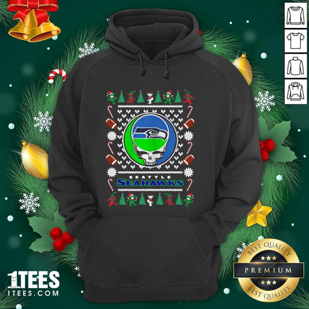 Seattle Seahawks Grateful Dead Ugly Christmas Hoodie- Design By 1Tees.com