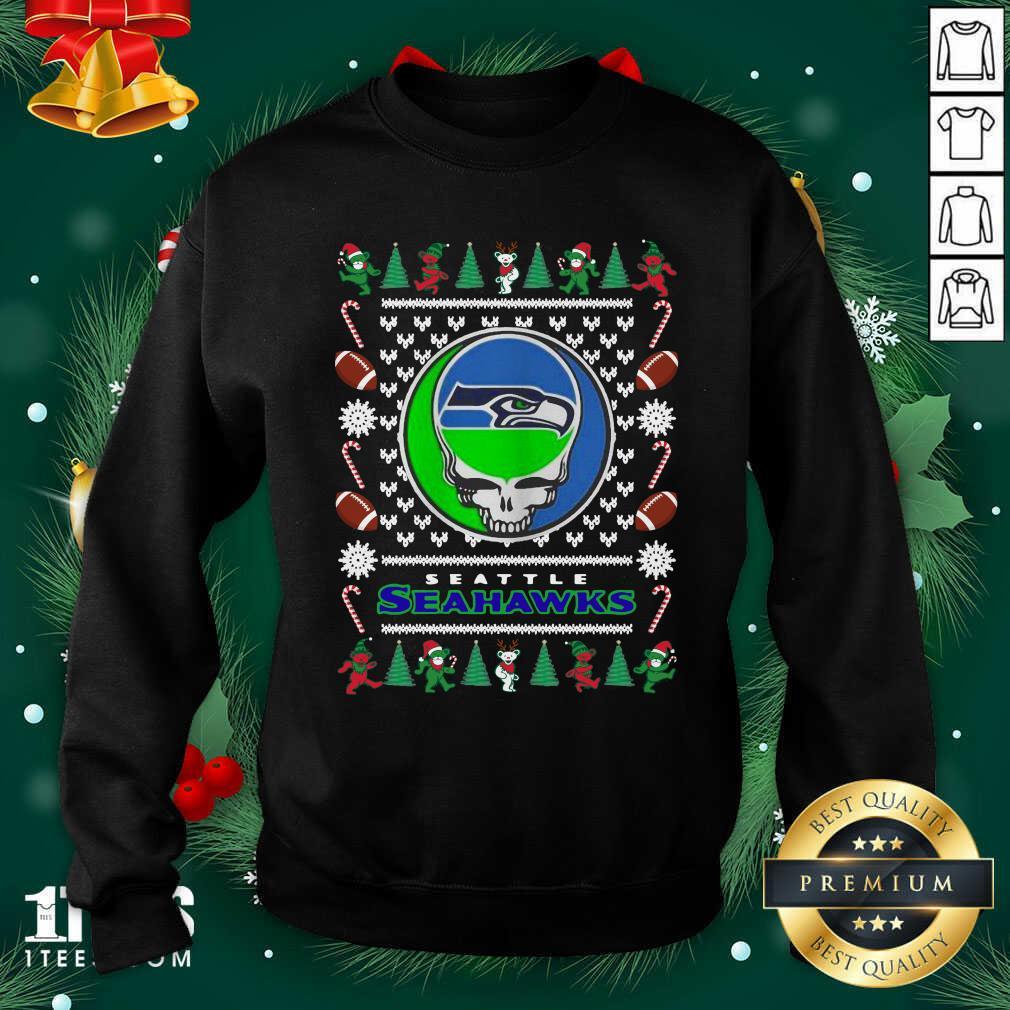 Seattle Seahawks Grateful Dead Ugly Christmas Sweatshirt- Design By 1Tees.com